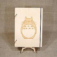Скетчбук A5. Блокнот с деревянной обложкой Totoro, фото 1