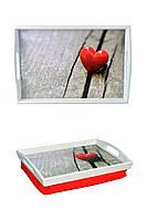 Поднос на подушке с ручками BST 48*33 бело-красный Сердце