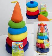 Пирамидка мягкая Розумник Розумна іграшка логика