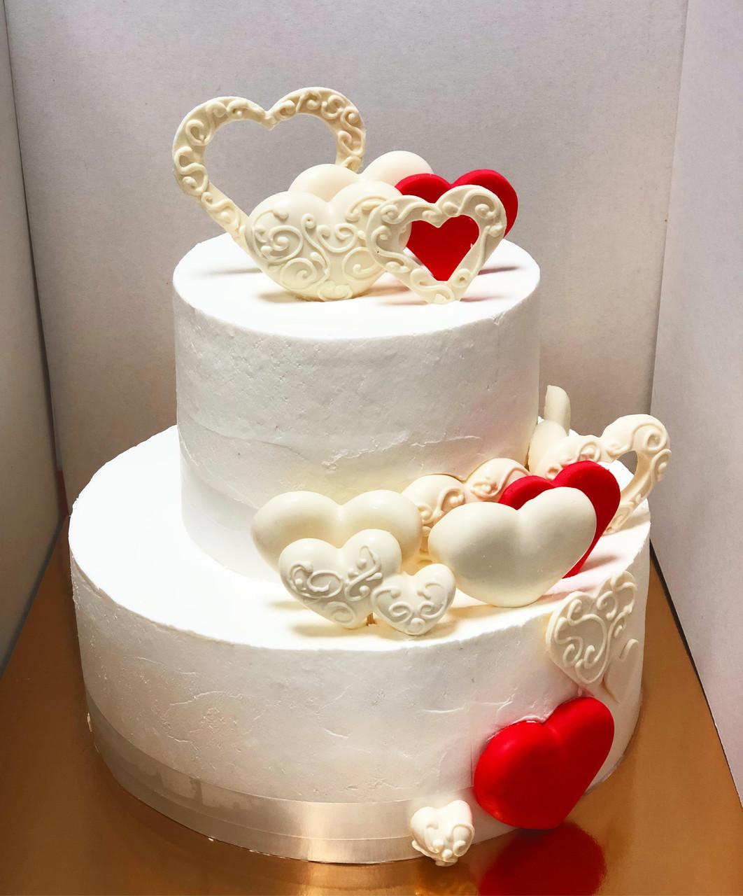 """Свадебный торт на заказ """"Сердца молодых"""""""