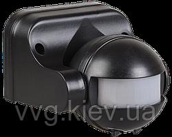 Датчик движения ДД 009 черный, максимальная нагрузка 1100Вт, угол обзора 180 градусов, дальность 12м IP44 IEK