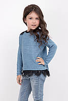 Удобный детский джемпер для девочки с кружевом цвета джинс