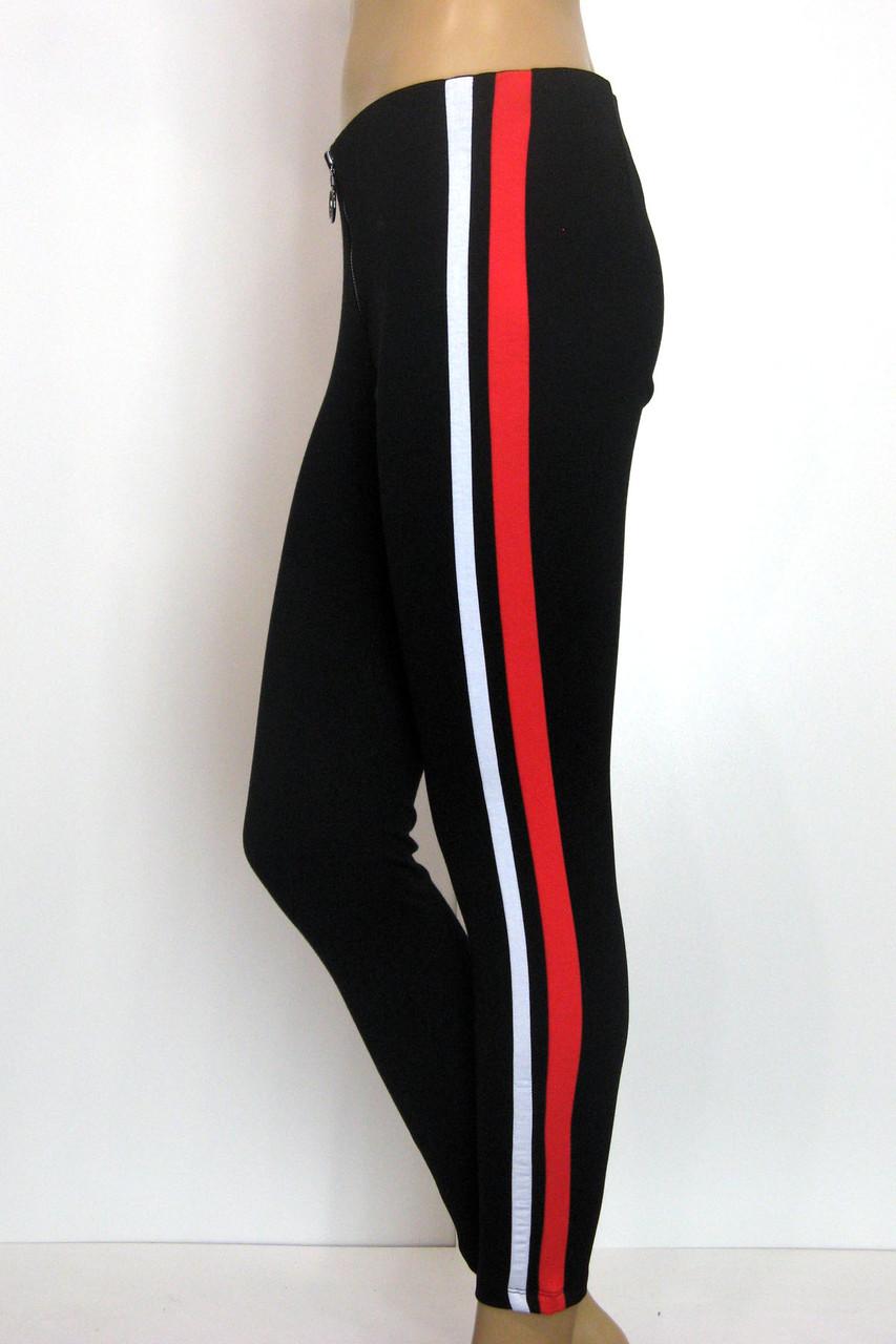 Жіночі брюки на резинці з червоними лампасами