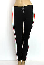 Жіночі брюки на резинці з червоними лампасами, фото 2