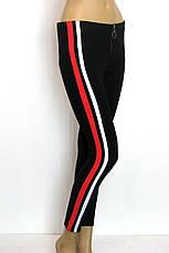 Жіночі брюки на резинці з червоними лампасами, фото 3