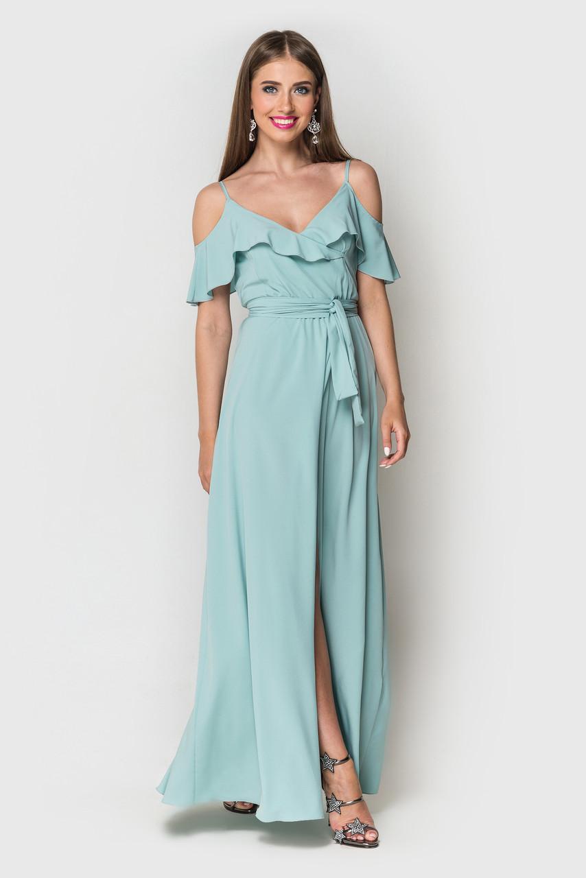c60ba8d599e8f Женское летнее длинное платье в пол сарафан на тонких бретелях на запах  голубое
