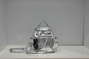 Кожаный рюкзак женский серебро Lazurite 0791-1744, фото 2