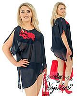 Блуза туника с пришитым цветком  № A1144
