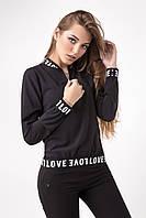 Черная женская спортивная повседневная кофта-бомбер с молнией, фото 1
