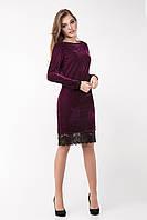 Велюровое платье с кружевом размер 44