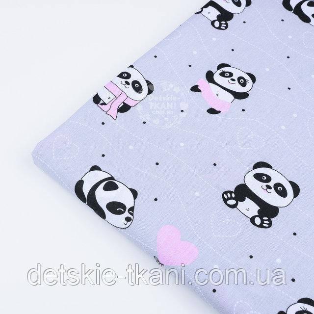 """Лоскут ткани №1226  """"Панды в розовых платьях"""" на сером фоне, 21*80 см"""