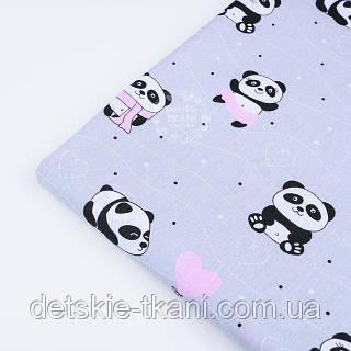 """Отрез ткани №1226  """"Панды в розовых платьях"""" на сером фоне"""