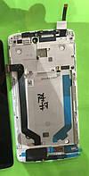 Дисплей (экран) для Lenovo A7010 Vibe X3 Lite/Vibe K4 Note + тачскрин, черный, с передней панелью белого цвета