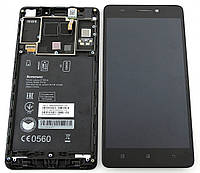 Дисплей (экран) для Lenovo A7000 + тачскрин, (1280x720), черный, с передней панелью