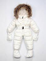 Moncler белый детский пуховый комбинезон