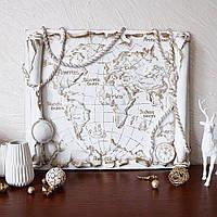 Барельеф Древняя карта мира обемная