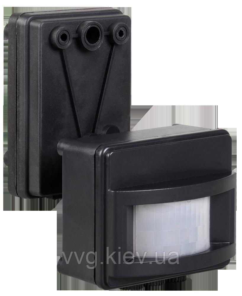 Датчик движения ДД 017 черный, максимальная нагрузка 1100Вт, угол обзора 120 градусов, дальность 12м IP44 IEK