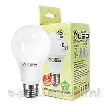 Светодиодная лампа 15Вт, Е27 (Груша), 4000К