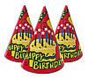 Колпачки карнавальные Happy Birthday с тортиком 16 см