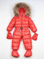 Moncler красный детский пуховый комбинезон
