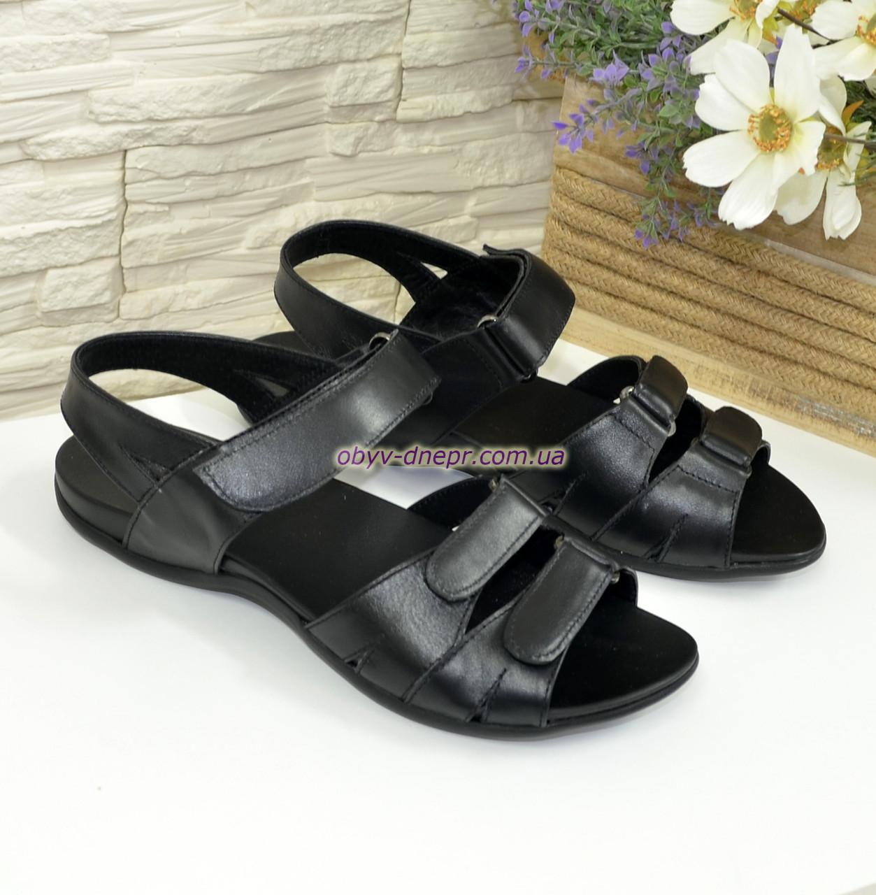 368d99b9eda2 Купить Женские черные босоножки на липучках из натуральной кожи, плоская  подошва ...