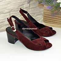 Женские бордовые босоножки на устойчивом каблуке, натуральная замша, фото 1