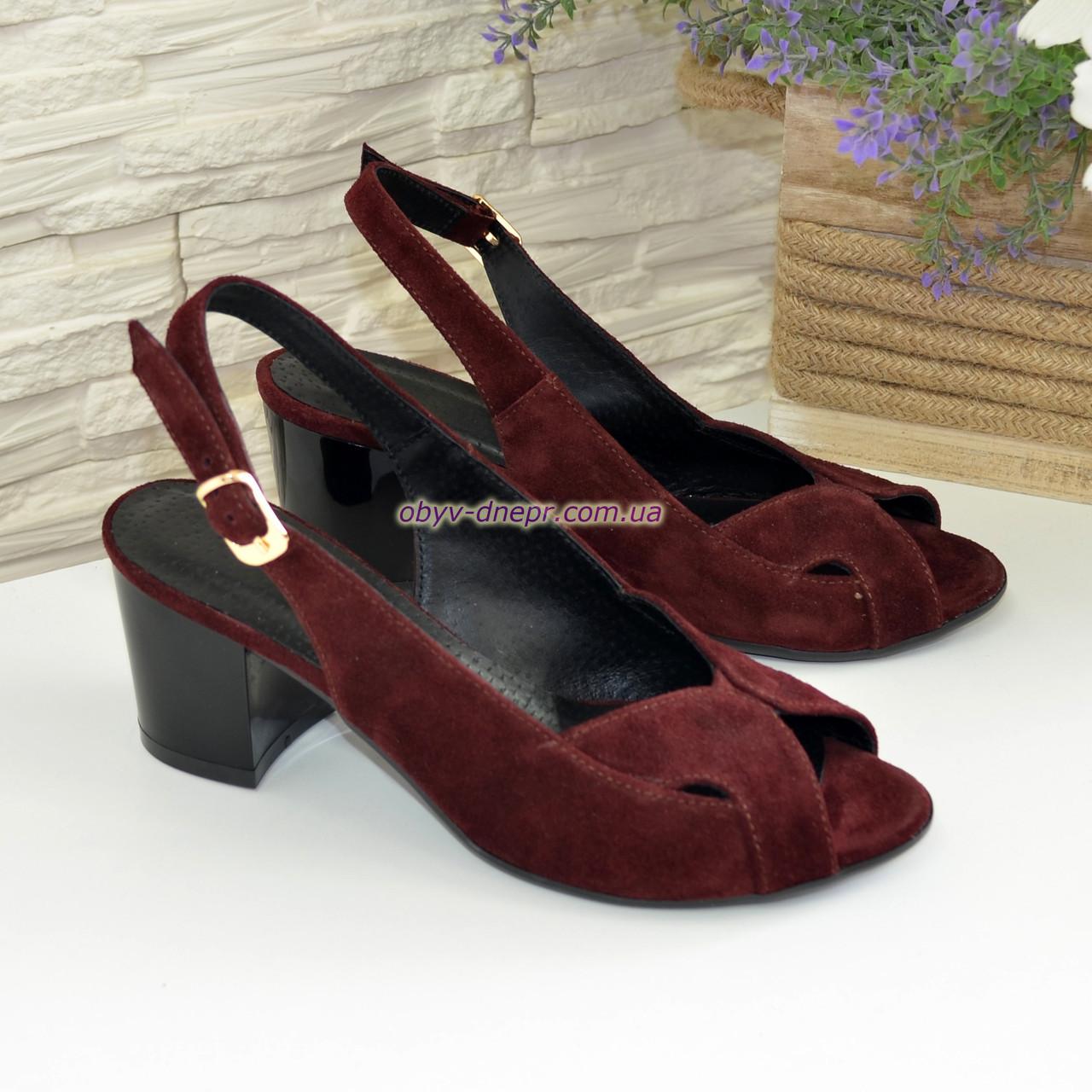 Женские бордовые босоножки на устойчивом каблуке, натуральная замша