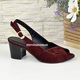 Женские бордовые босоножки на устойчивом каблуке, натуральная замша, фото 2