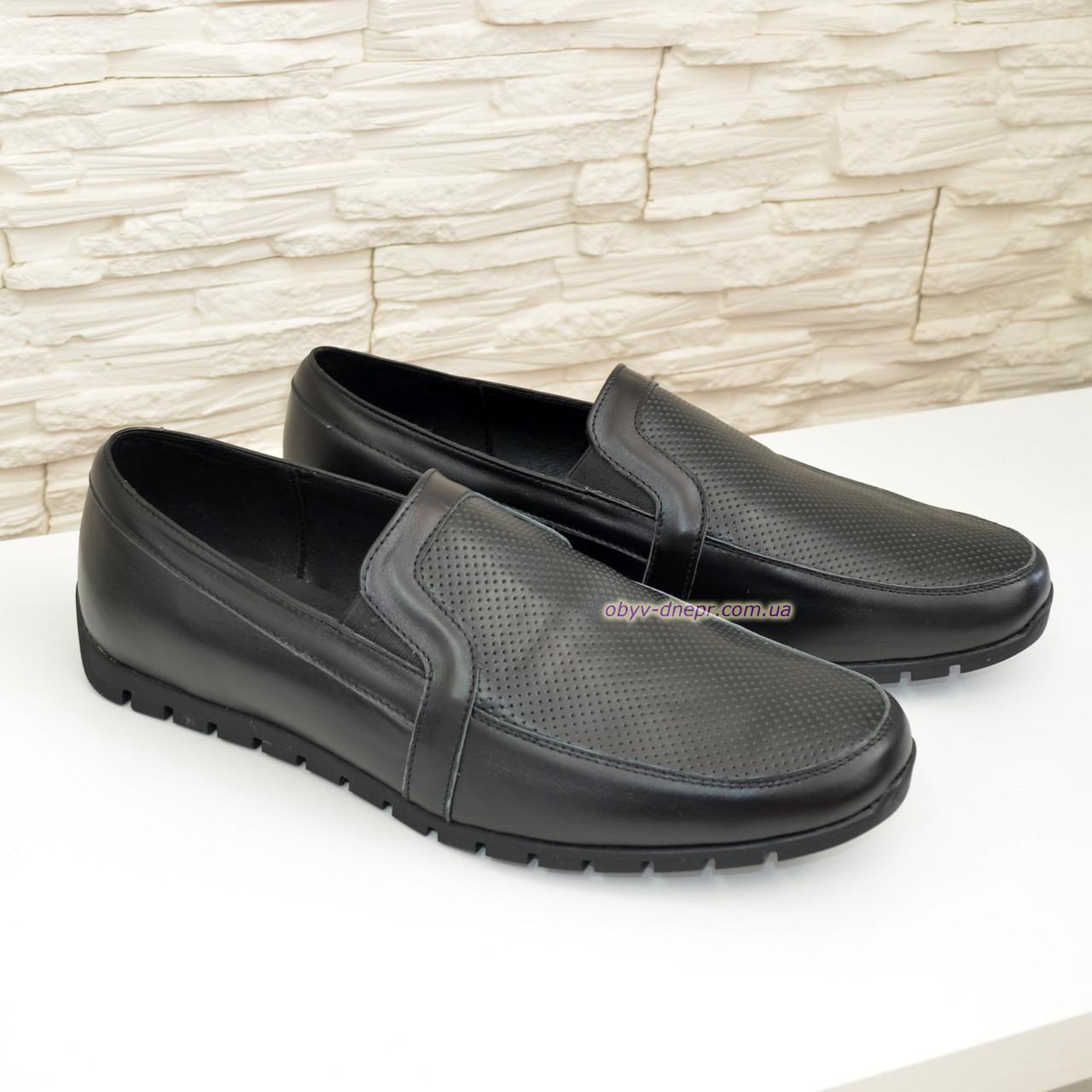 Мужские кожаные туфли-мокасины, цвет черный