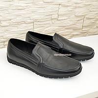Мужские кожаные туфли-мокасины, цвет черный, фото 1