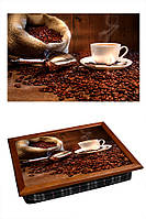 Поднос на подушке BST 040305 44*36 коричневый для кофе