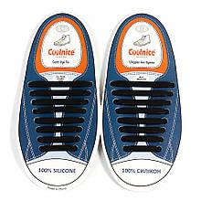 Силиконовые шнурки Coolnice Черные (8+8) 16 шт/комплект
