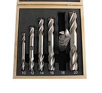 Набор фрез концевых 2-х сторонних по металлу из 6шт. (d10, 12, 14, 16, 18, 20мм Z=4) Р18 в деревянном футляре
