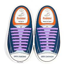 Силиконовые шнурки Coolnice Фиолетовые (8+8) 16 шт/комплект