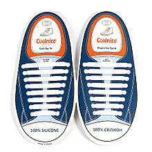 Силиконовые шнурки Coolnice Белые (8+8) 16 шт/комплект