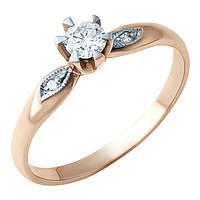 Родированное золотое кольцо 585 пробы с натуральными бриллиантом, бриллиантом