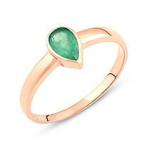 золотое кольцо 585 пробы с натуральным изумрудом