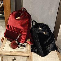 Велюровый рюкзак с помпоном, цвета в наличии, фото 1