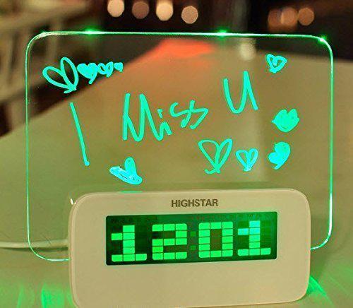 Светящийся будильник SUNROZ с доской для записи и USB-зарядкой LED Зеленая подсветка (SUN1221)