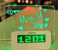 Светящийся будильник SUNROZ с доской для записи и USB-зарядкой LED Зеленая подсветка (SUN1221) , фото 1