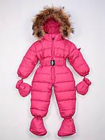 Moncler розовый детский пуховый комбинезон