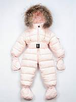 Moncler детский пуховый комбинезон нежно розовый