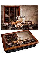 Поднос подушка BST 040283 44*36 коричневый натюрморт оригинальный