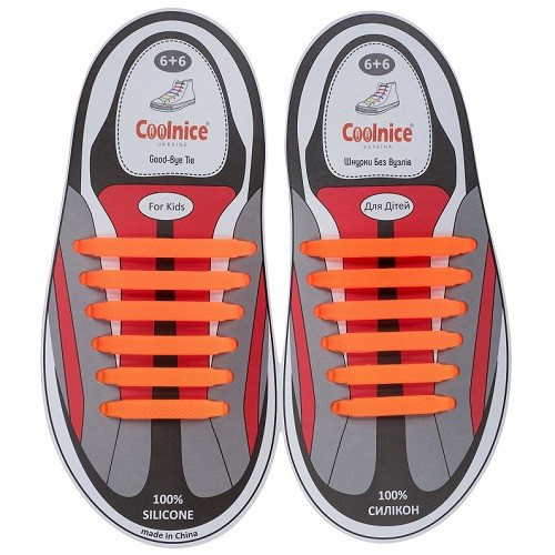 Силиконовые шнурки Coolnice оранжевые (6+6) 12 шт./комплект