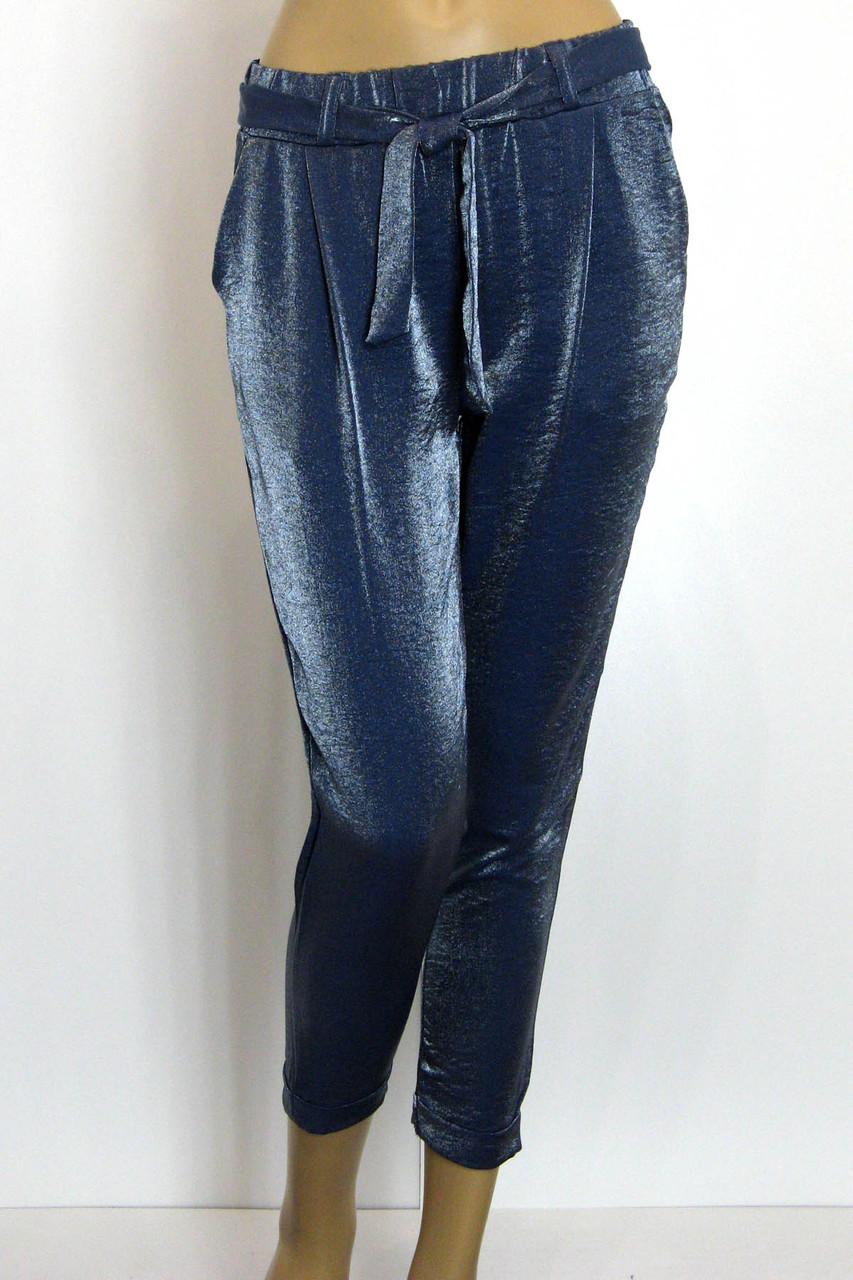 Женские брюки джоггеры на резинке с люрексом