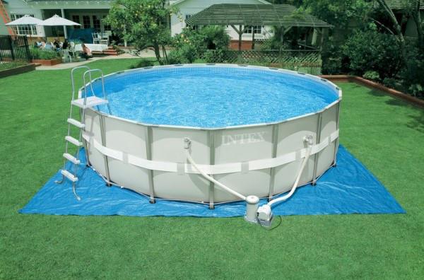 Круглый каркасный бассейн Intex+ фильтр-насос(220-240V) + лестница + подстилка + тент, 427х107 см (28310)