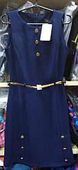 Платье №6109 с поясом, синий, без рукавов р.36-42