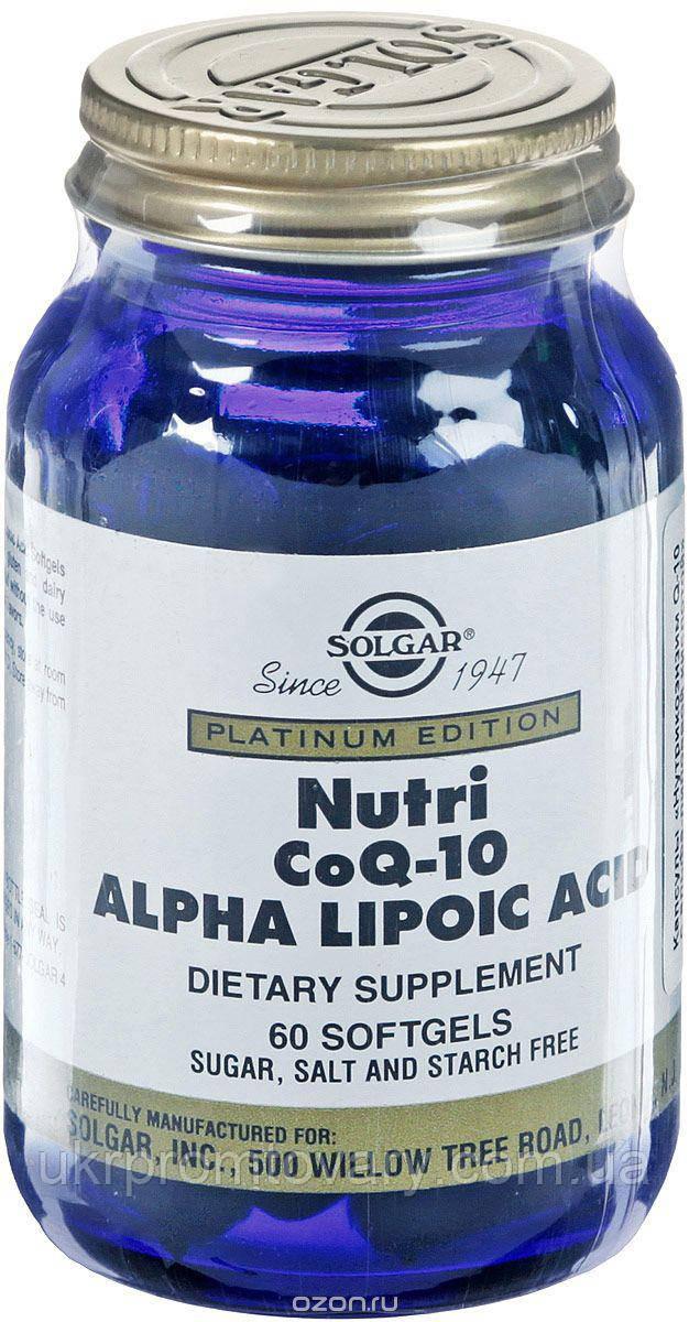 Solgar nutri Нутрикоэнзим Q-10 с альфа-липоевой кислотой (Nutri-Nano CoQ-10 Alpha Lipoic Acid) Солгар №60