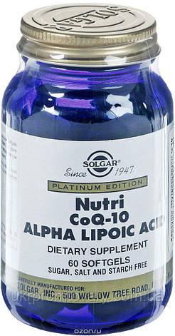 Solgar nutri Нутрикоэнзим Q-10 с альфа-липоевой кислотой (Nutri-Nano CoQ-10 Alpha Lipoic Acid) Солгар №60, фото 2