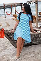 5bcc3a5d75d1 Летнее батальное платье свободного кроя в бело-голубую полоску. Арт-4522 35